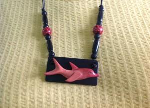 Ebony Pendant  Carved Pink Ivory  Dolphin.